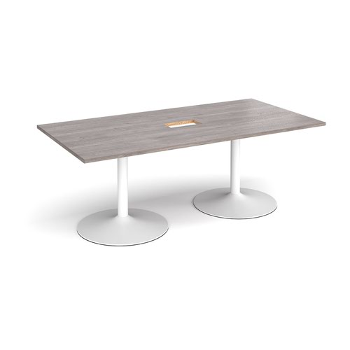 Trumpet base rectangular boardroom table 2000mm x 1000mm with central cutout 272mm x 132mm - white base and grey oak top