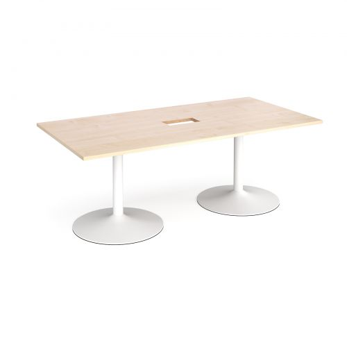Trumpet base rectangular boardroom table 2000mm x 1000mm with central cutout 272mm x 132mm - white base and maple top