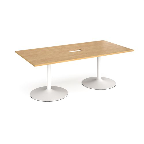 Trumpet base rectangular boardroom table 2000mm x 1000mm with central cutout 272mm x 132mm - white base and oak top