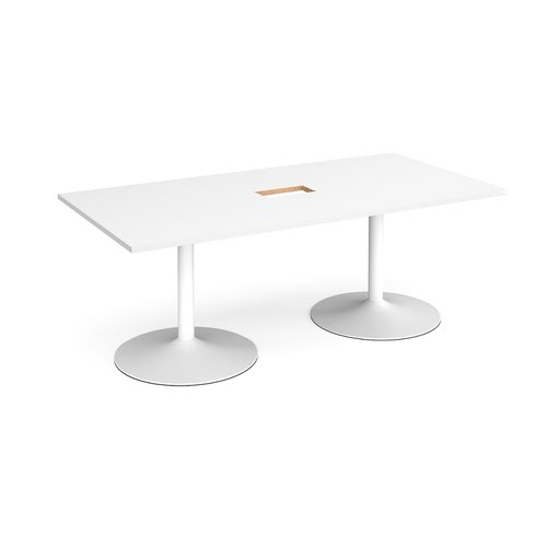 Trumpet base rectangular boardroom table 2000mm x 1000mm with central cutout 272mm x 132mm - white base and white top