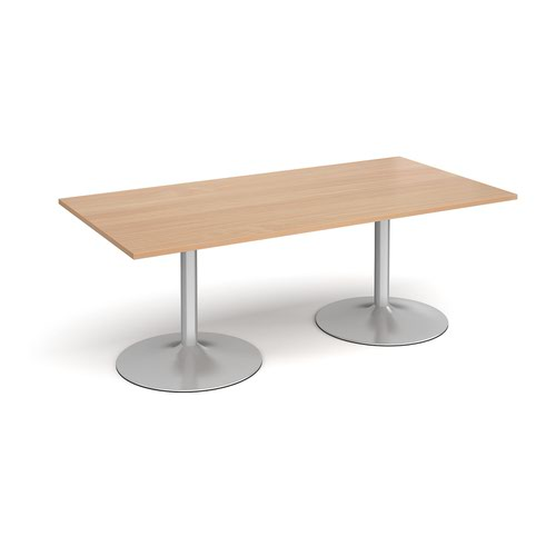 Trumpet Base Rectangular Boardroom Table 2000mm X 1000mm Silver Base Beech Top