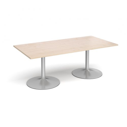 Trumpet Base Rectangular Boardroom Table 2000mm X 1000mm Silver Base Maple Top