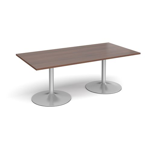 Trumpet base rectangular boardroom table 2000mm x 1000mm - silver base and walnut top