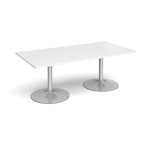 Trumpet base rectangular boardroom table 2000mm x 1000mm - silver base and white top