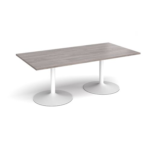 Trumpet base rectangular boardroom table 2000mm x 1000mm - white base and grey oak top