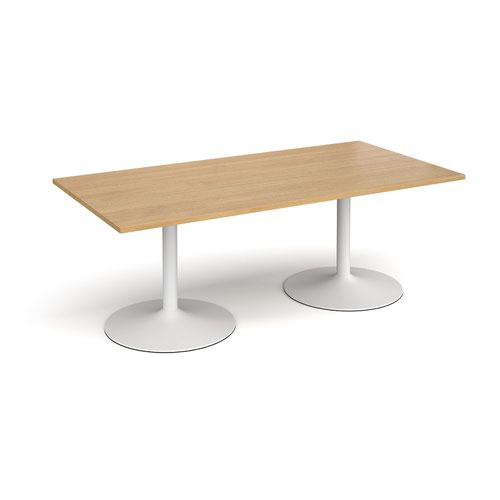 Trumpet base rectangular boardroom table 2000mm x 1000mm - white base and oak top