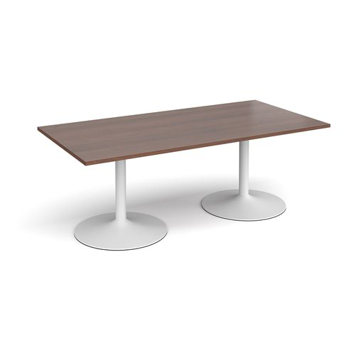 Trumpet base rectangular boardroom table 2000mm x 1000mm - white base and walnut top