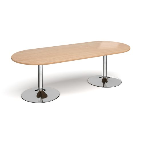 Trumpet base radial end boardroom table 2400mm x 1000mm - chrome base and beech top