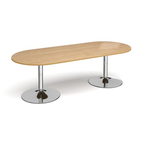 Trumpet base radial end boardroom table 2400mm x 1000mm - chrome base and oak top
