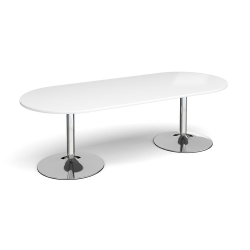 Trumpet base radial end boardroom table 2400mm x 1000mm - chrome base and white top