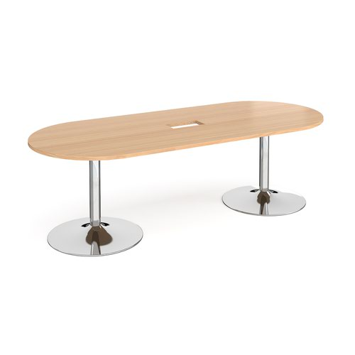 Trumpet base radial end boardroom table 2400mm x 1000mm with central cutout 272mm x 132mm - chrome base and beech top
