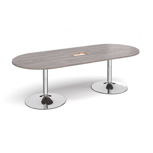 Trumpet base radial end boardroom table 2400mm x 1000mm with central cutout 272mm x 132mm - chrome base and grey oak top