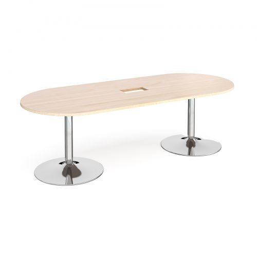 Trumpet base radial end boardroom table 2400mm x 1000mm with central cutout 272mm x 132mm - chrome base and maple top