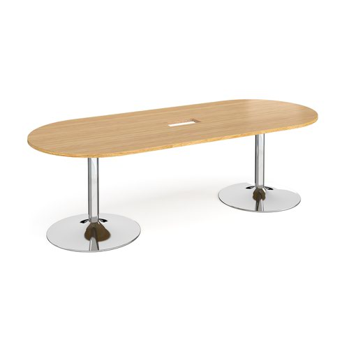 Trumpet base radial end boardroom table 2400mm x 1000mm with central cutout 272mm x 132mm - chrome base and oak top