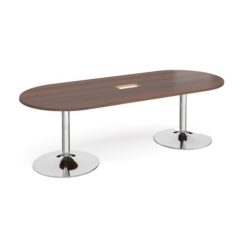 Trumpet base radial end boardroom table 2400mm x 1000mm with central cutout 272mm x 132mm - chrome base and walnut top