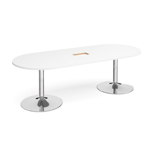 Trumpet base radial end boardroom table 2400mm x 1000mm with central cutout 272mm x 132mm - chrome base and white top