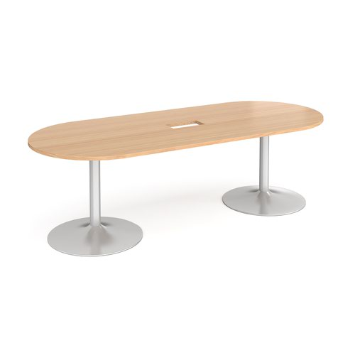 Trumpet base radial end boardroom table 2400mm x 1000mm with central cutout 272mm x 132mm - silver base and beech top