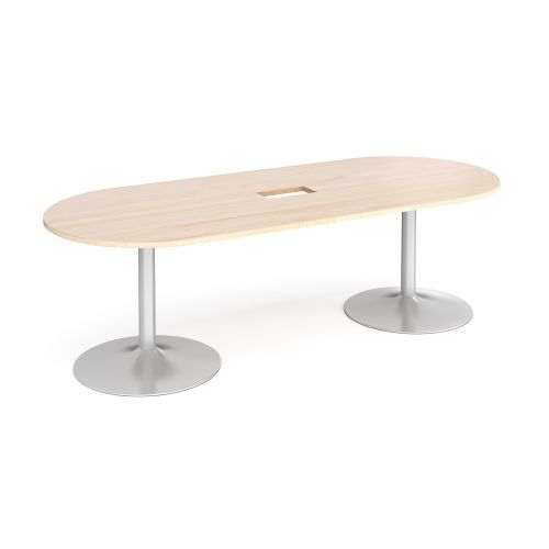 Trumpet base radial end boardroom table 2400mm x 1000mm with central cutout 272mm x 132mm - silver base and maple top