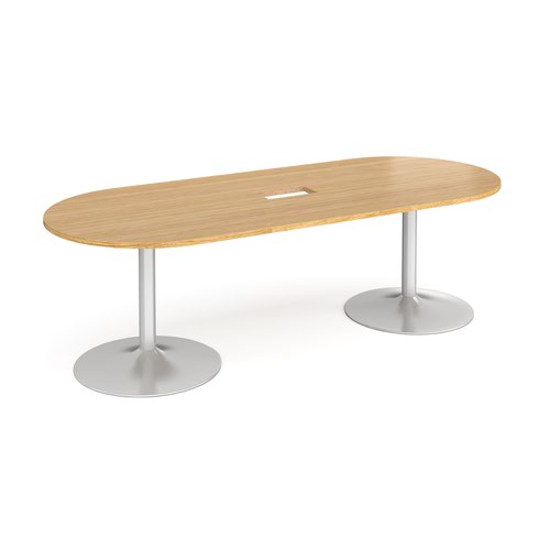 Trumpet base radial end boardroom table 2400mm x 1000mm with central cutout 272mm x 132mm - silver base and oak top