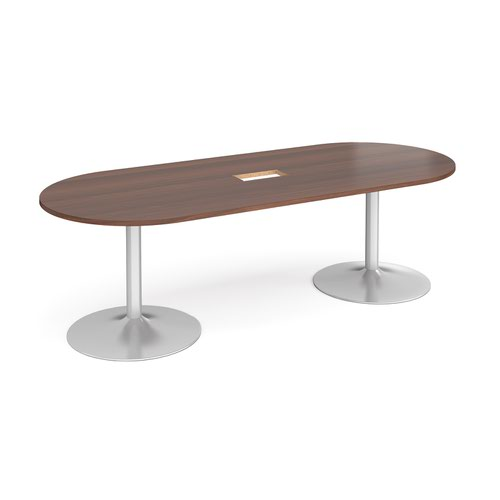Trumpet base radial end boardroom table 2400mm x 1000mm with central cutout 272mm x 132mm - silver base and walnut top