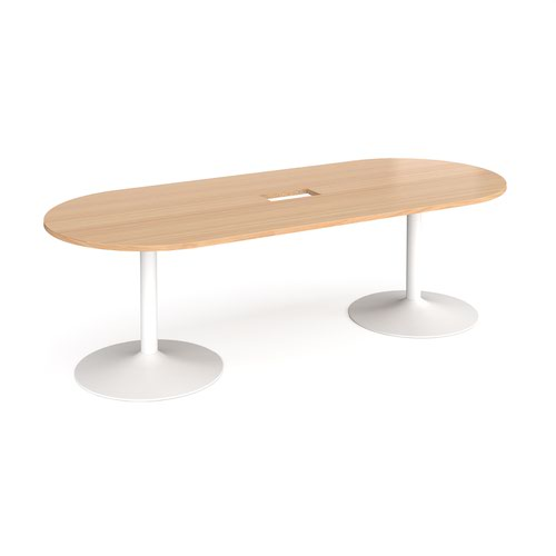 Trumpet base radial end boardroom table 2400mm x 1000mm with central cutout 272mm x 132mm - white base and beech top