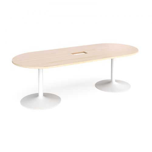 Trumpet base radial end boardroom table 2400mm x 1000mm with central cutout 272mm x 132mm - white base and maple top