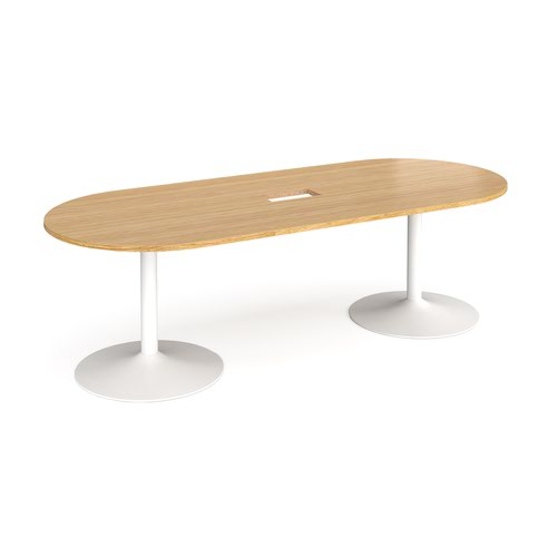 Trumpet base radial end boardroom table 2400mm x 1000mm with central cutout 272mm x 132mm - white base and oak top