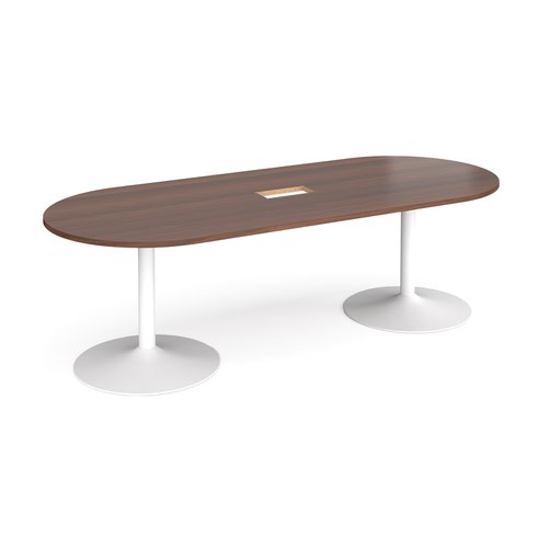 Trumpet base radial end boardroom table 2400mm x 1000mm with central cutout 272mm x 132mm - white base and walnut top