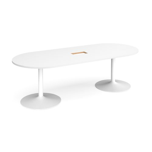 Trumpet base radial end boardroom table 2400mm x 1000mm with central cutout 272mm x 132mm - white base and white top