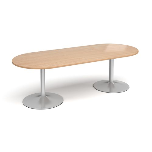 Trumpet base radial end boardroom table 2400mm x 1000mm - silver base and beech top