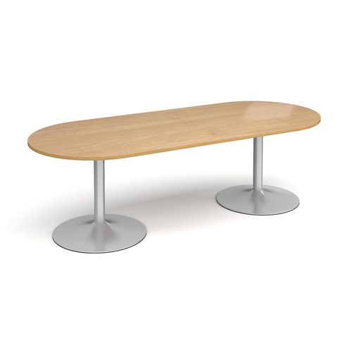 Trumpet Base Radial End Boardroom Table 2400mm X 1000mm Silver Base Oak Top