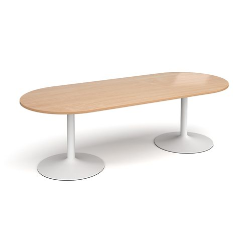 Trumpet base radial end boardroom table 2400mm x 1000mm - white base and beech top