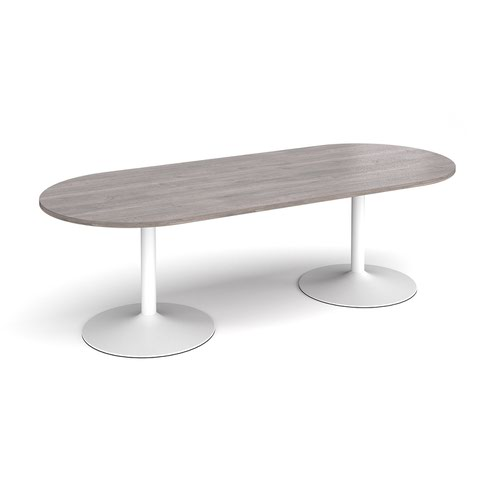 Trumpet base radial end boardroom table 2400mm x 1000mm - white base and grey oak top