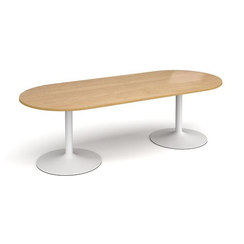 Trumpet base radial end boardroom table 2400mm x 1000mm - white base and oak top