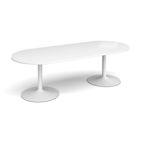 Trumpet base radial end boardroom table 2400mm x 1000mm - white base and white top