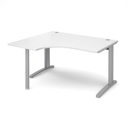 TR10 left hand ergonomic desk 1400mm - silver frame and white top