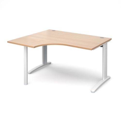 TR10 left hand ergonomic desk 1400mm - white frame and beech top