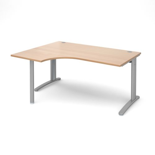 TR10 left hand ergonomic desk 1600mm - silver frame and beech top