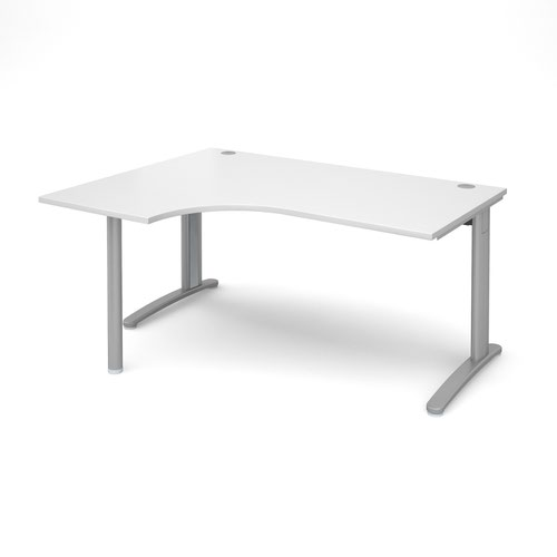 TR10 left hand ergonomic desk 1600mm - silver frame and white top