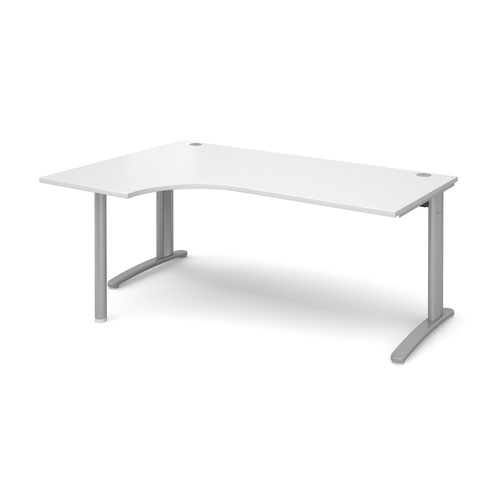 TR10 left hand ergonomic desk 1800mm - silver frame and white top