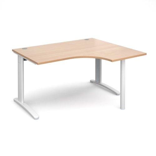 TR10 right hand ergonomic desk 1400mm - white frame and beech top