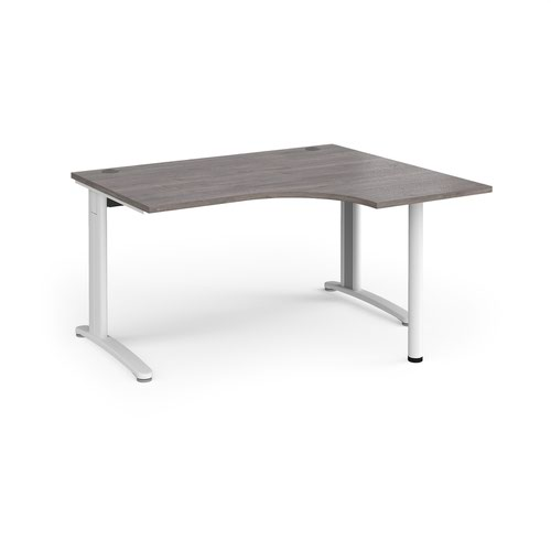 TR10 right hand ergonomic desk 1400mm - white frame and grey oak top