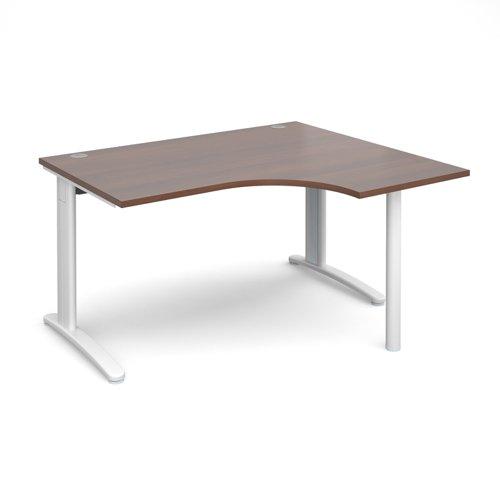 TR10 right hand ergonomic desk 1400mm - white frame and walnut top