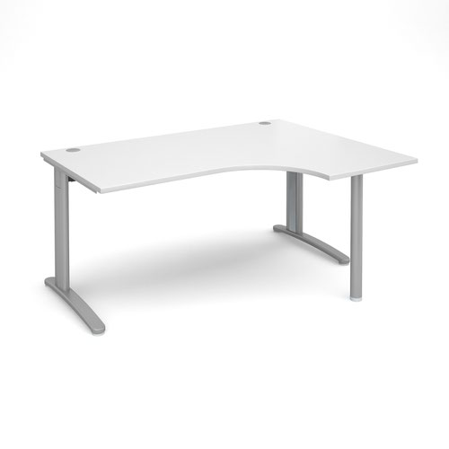 TR10 right hand ergonomic desk 1600mm - silver frame and white top