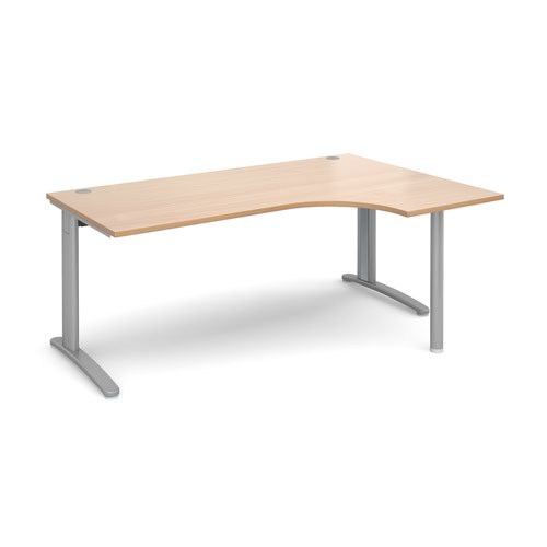 TR10 right hand ergonomic desk 1800mm - silver frame and beech top