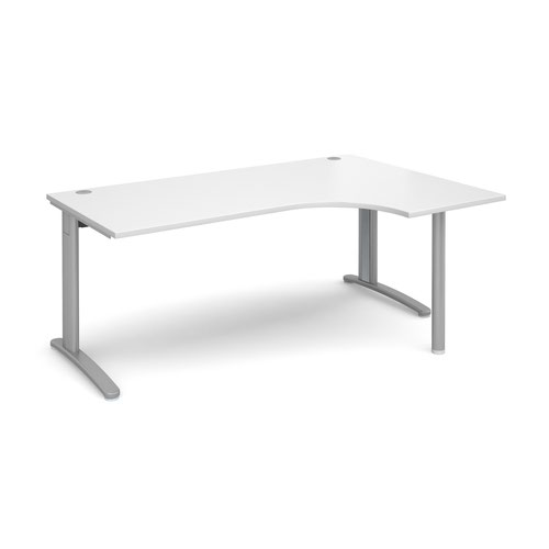 TR10 right hand ergonomic desk 1800mm - silver frame and white top