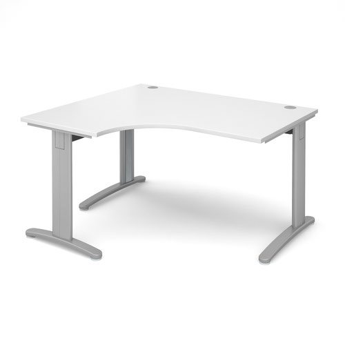 TR10 deluxe left hand ergonomic desk 1400mm - silver frame and white top