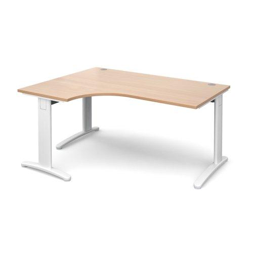 TR10 deluxe left hand ergonomic desk 1600mm - white frame and beech top