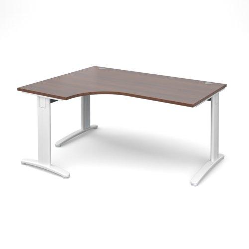 TR10 deluxe left hand ergonomic desk 1600mm - white frame and walnut top