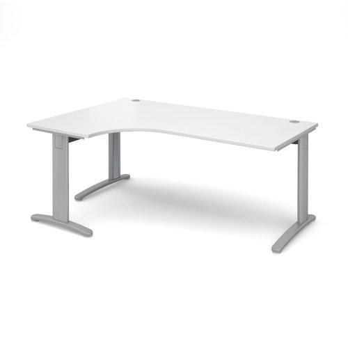 TR10 deluxe left hand ergonomic desk 1800mm - silver frame and white top